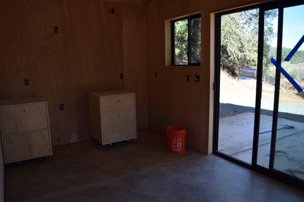 Kitchen with view through sliding glass door