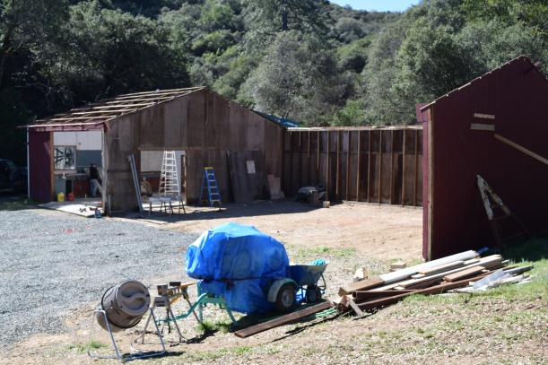 Stephen's workshop and shed without a roof or walls.